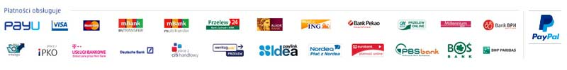 Płatności obsługuje PayU i PayPal